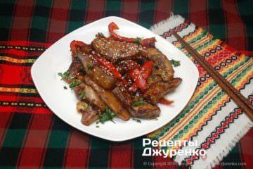 Фото рецепта баклажани в кисло-солодкому соусі