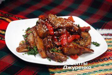 Готовое блюдо баклажаны в кисло-сладком соусе