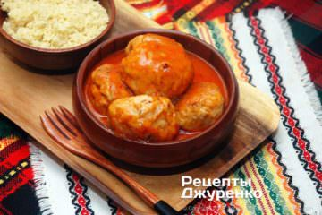 Фото рецепта куриные тефтели с подливкой
