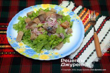 Фото рецепта салат с копченой рыбой