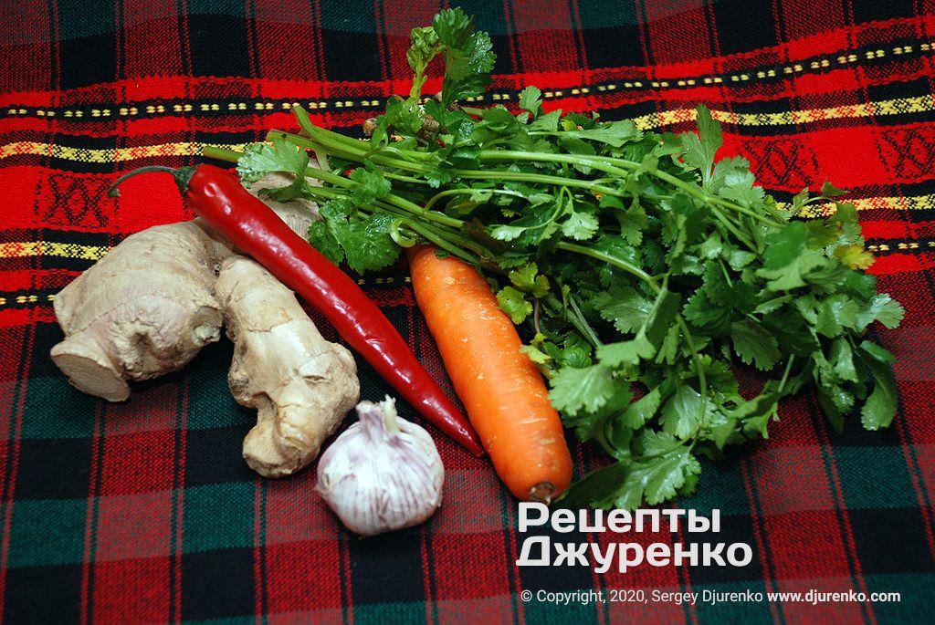 Овочі та зелень для салату.