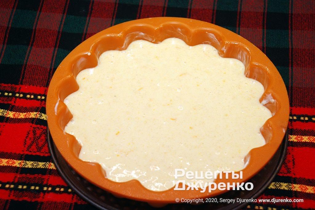 Тесто в форме для выпечки.