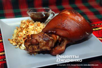 Фото рецепта запеченная свиная рулька
