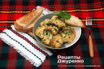 Фото рецепта жареная цветная капуста с гренками