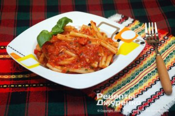 Фото рецепта макароны с помидорами