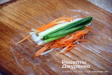 Шаг 3: начинка на рисовой бумаге