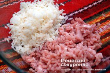 Шаг 2: фарш из свинины с рисом