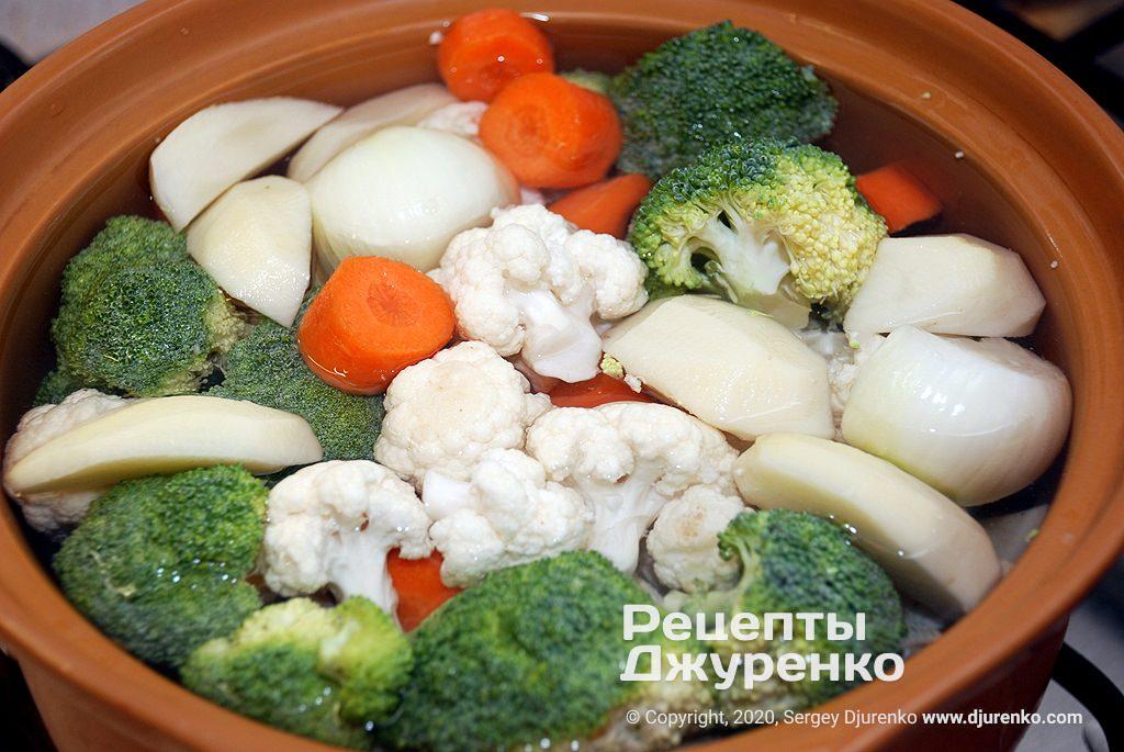 Подготовка овощей.