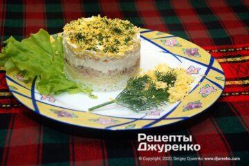 Фото рецепта салат мимоза с рыбными консервами