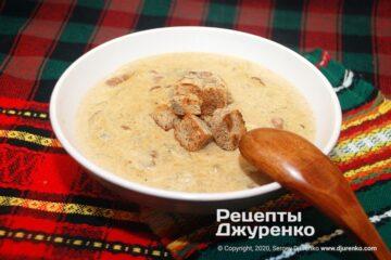 Готова страва суп з білих грибів