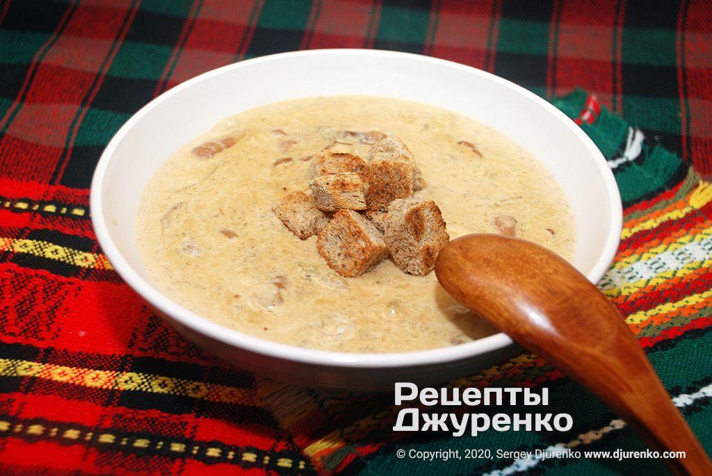Суп из белых грибов со сливками.