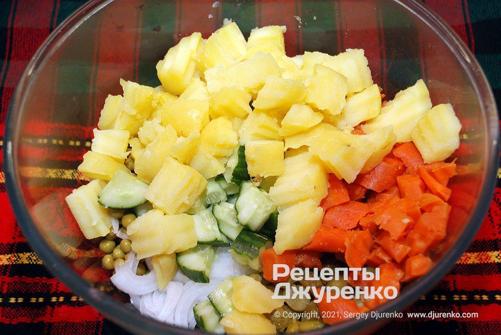 Нарезанные овощи.