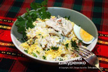 Фото рецепта оливье с курицей