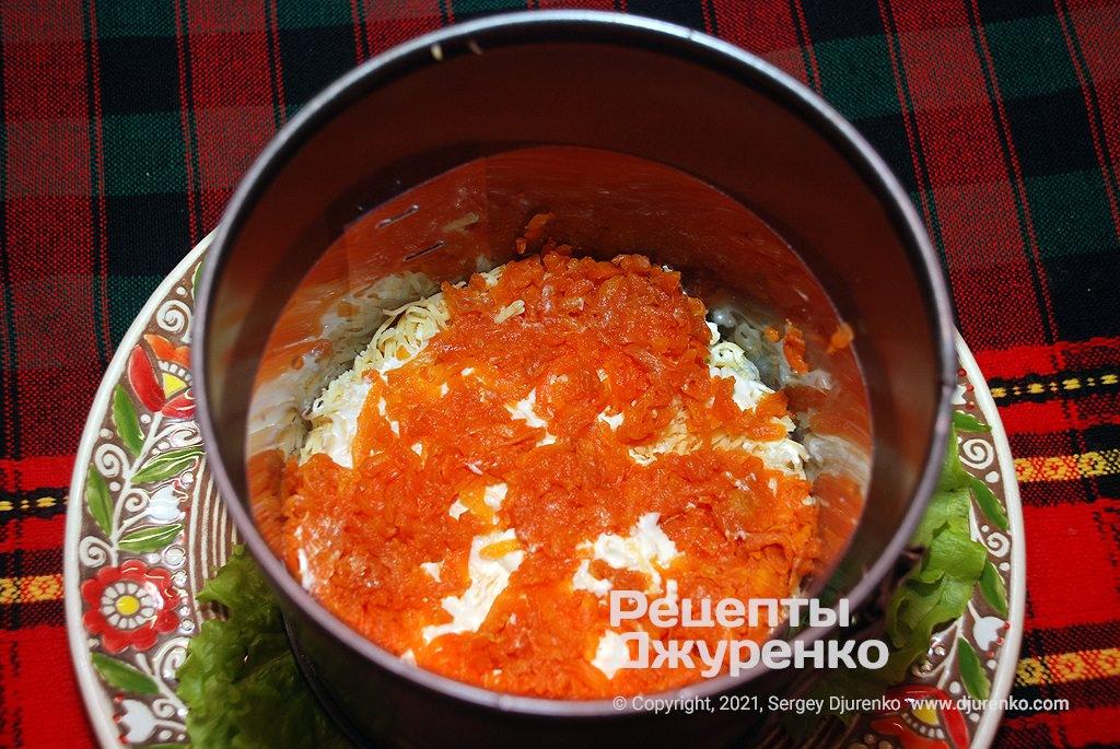 Выложить натертый сыр и морковку.