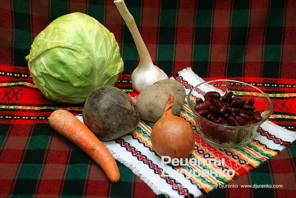 Овощи для борща - капуста, свекла, морковка, лук и т.д.