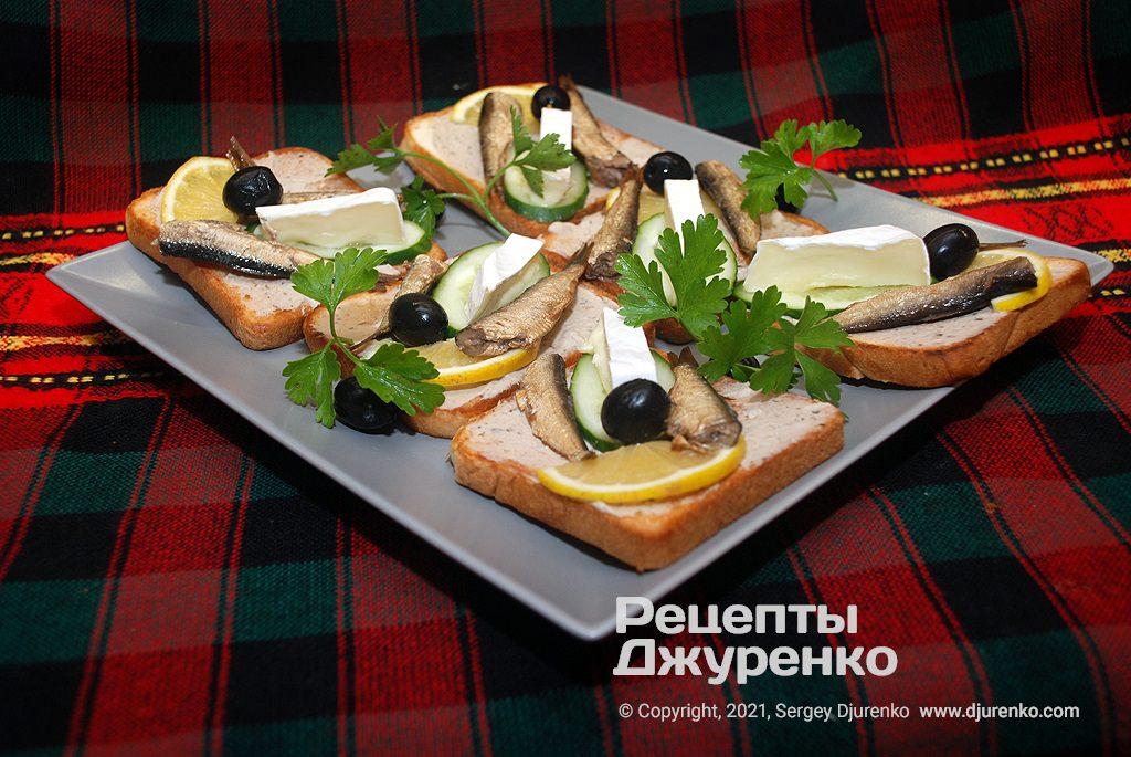 Готова страва Бутерброди зі шпротами на підсмаженому тостовому хлібі.