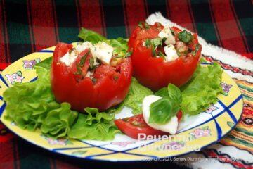Фото рецепта помидоры с моцареллой