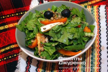 Фото рецепта салат зі шпинатом