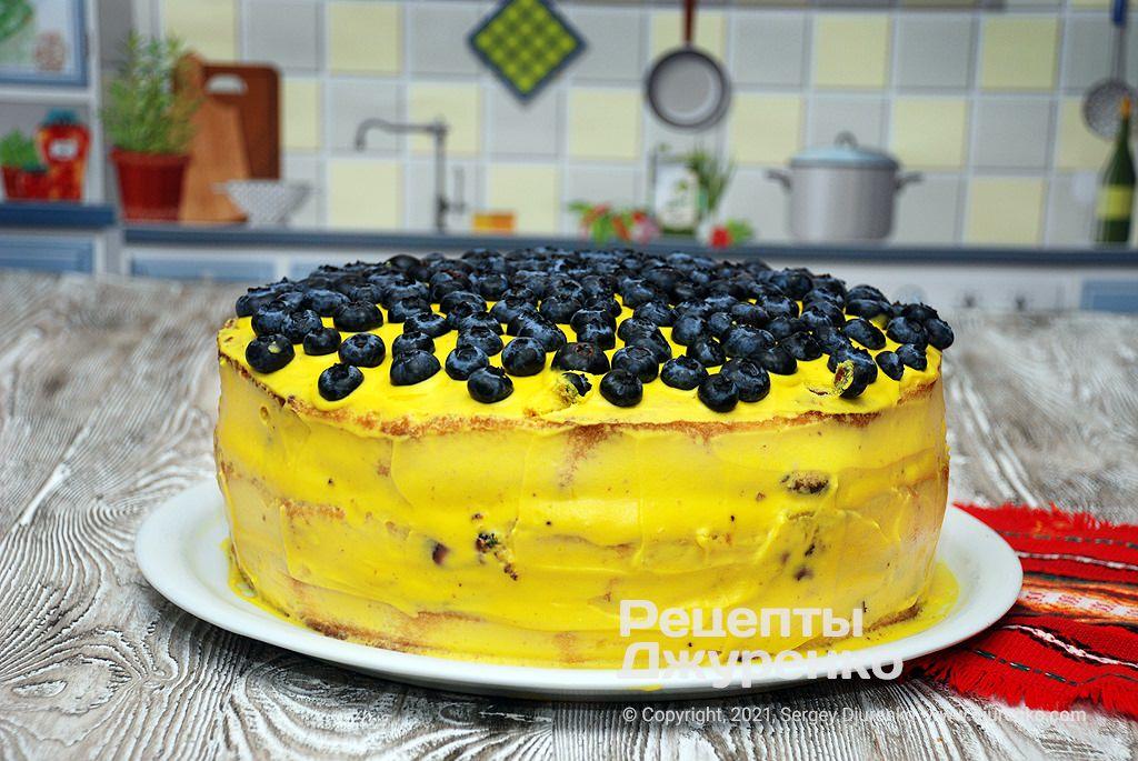 Готова страва Торт Лимон-чорниця - величезний святковий десерт.