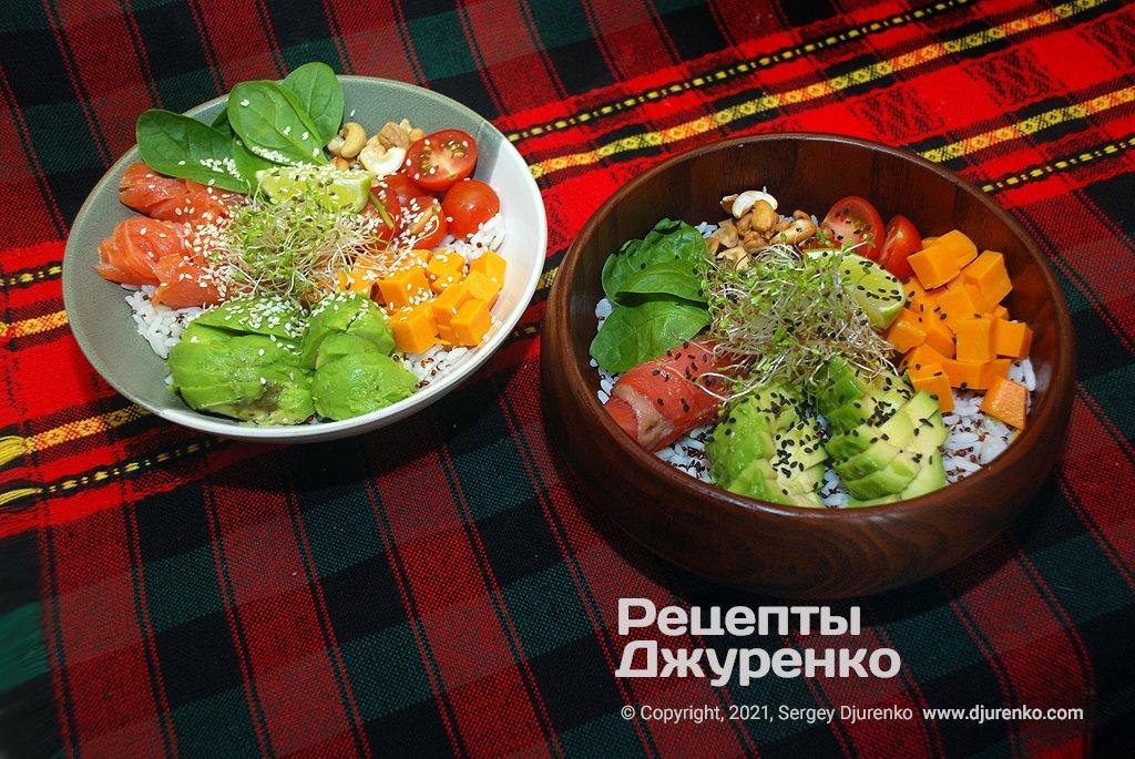 Готова страва Боул - корисна їжа в круглій тарілці, збалансоване харчування.